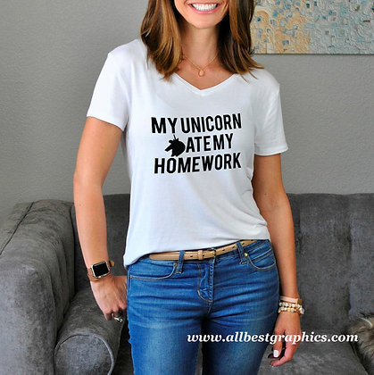 My unicorn ate my homework | Sarcastic T-shirt Quotes in Eps Svg Png Dxf