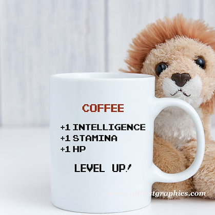 Level up | Sarcastic Coffee Quotes in Eps Svg Png Dxf