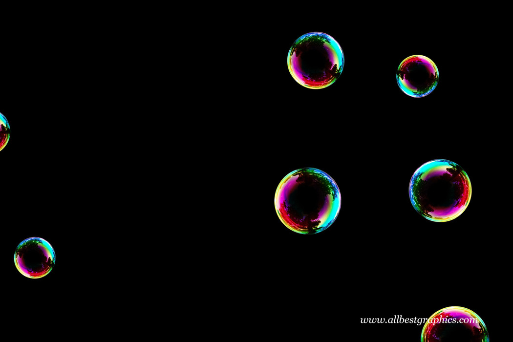 Wonderful rainbow soap bubble on black background | Bubble Photo Overlay