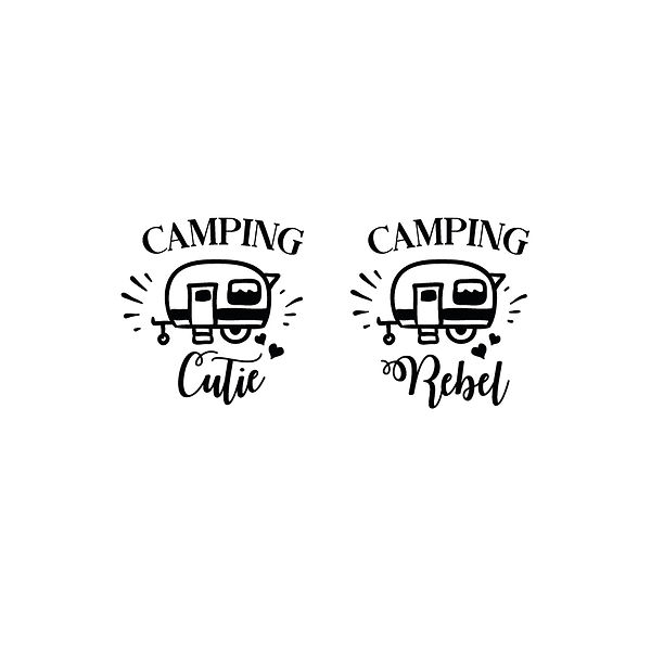Camping cutie & camping rebel | Free Iron on Transfer Funny Quotes T- Shirt Design in Png