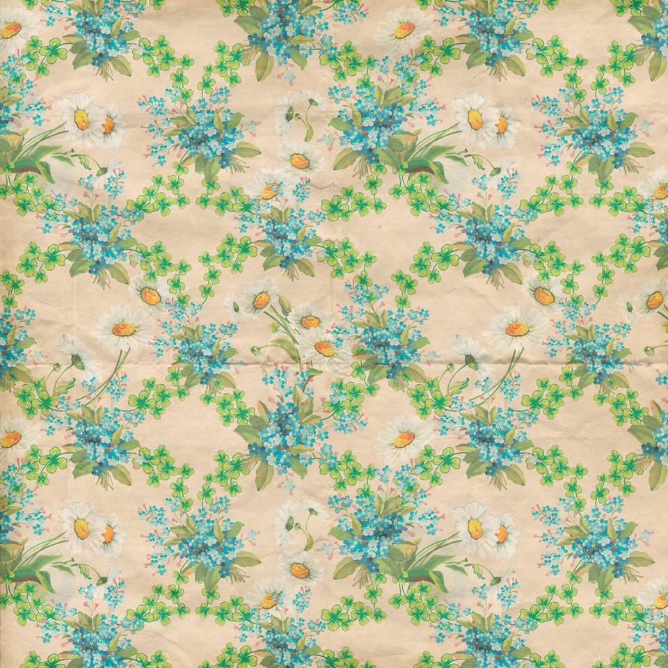 Retro floral digital paper with peonies | Scrapbook Paper