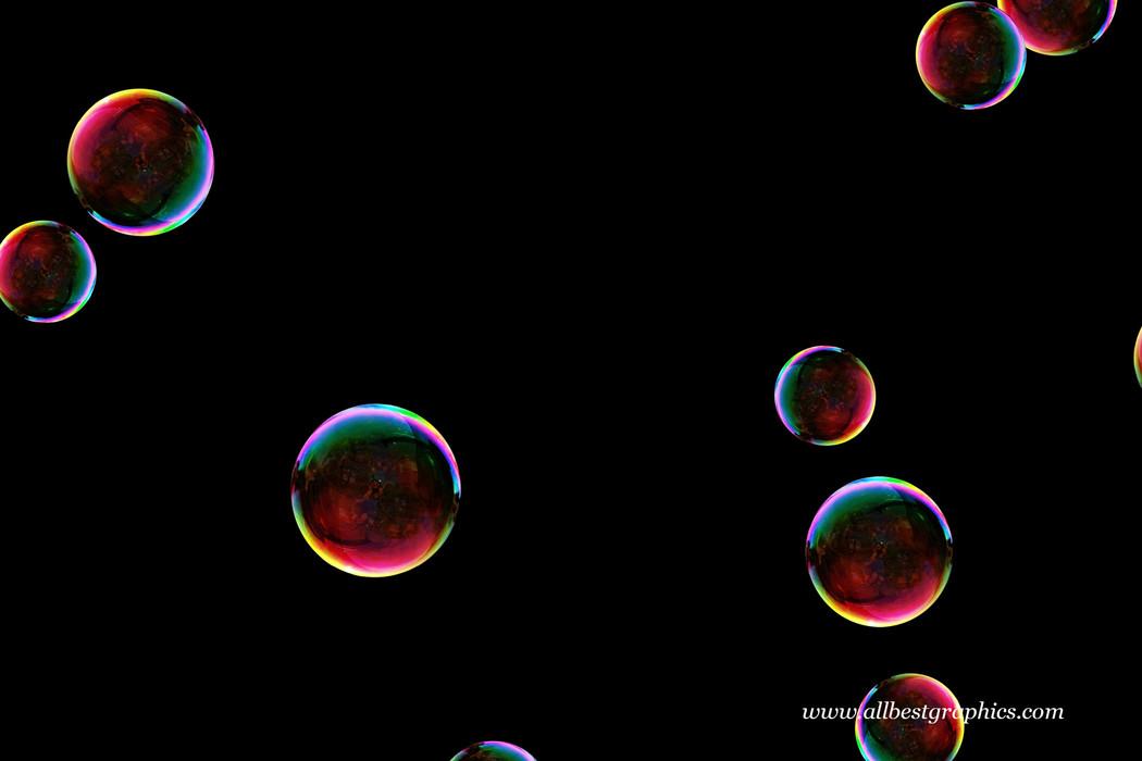 Wondrous realistic soap bubbles on black background | Bubble Photoshop overlays