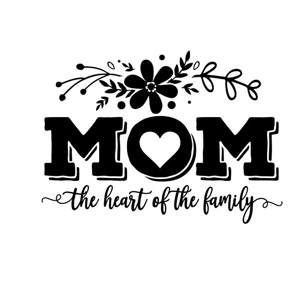 Mom the heart of the family Png | Free download Iron on Transfer Sarcastic Quotes T- Shirt Design in Png