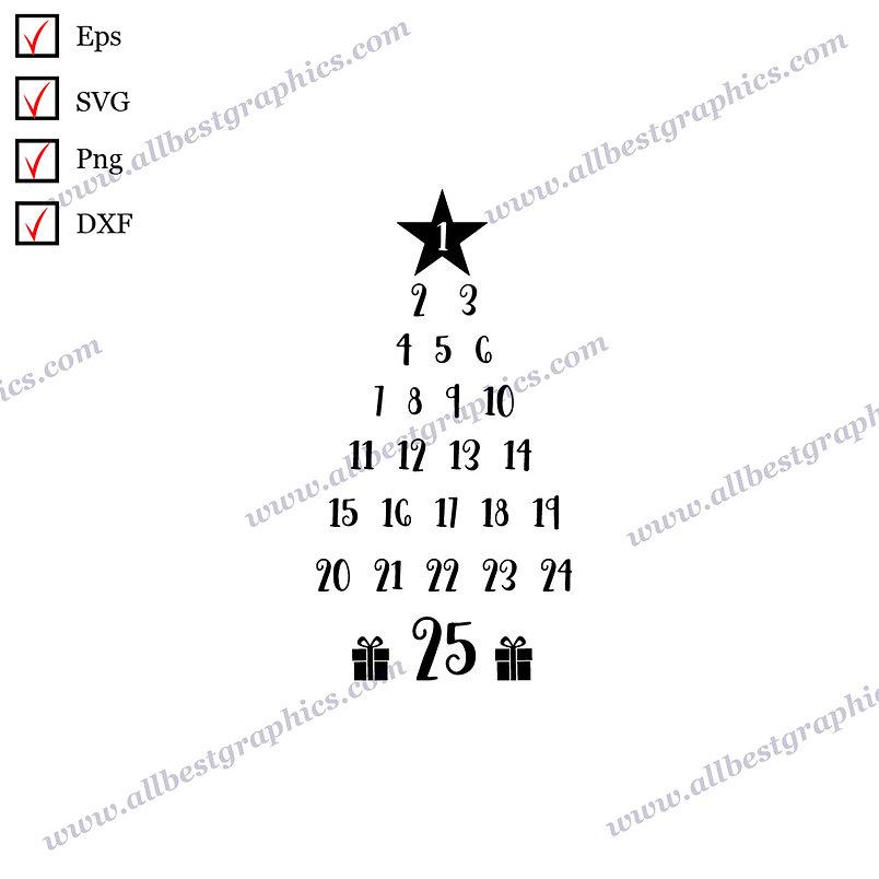 Christmas Tree Calendar | Cool Sayings Christmas Decor Easy-to-Use Dxf Eps SVG