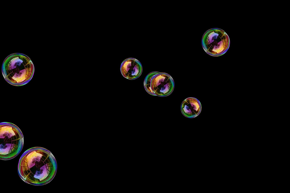 Unbelievable blowing soap bubbles on black background | Overlay for Photoshop