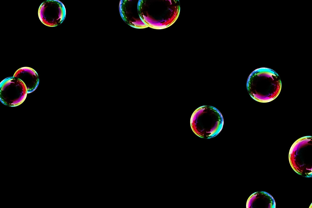 Wonderful air soap bubbles on black background | Photo Overlay