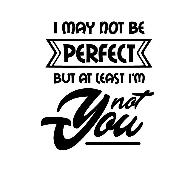 I may not be perfect but at least i'm not you Png | Free download Iron on Transfer Cool Quotes T- Shirt Design in Png