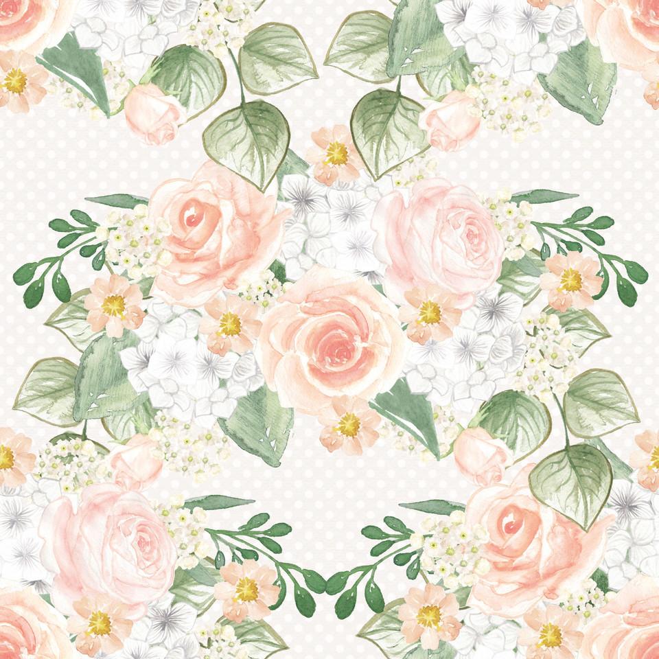 Colorful watercolor digital paper with pastel flowers | Scrapbook Digital Paper