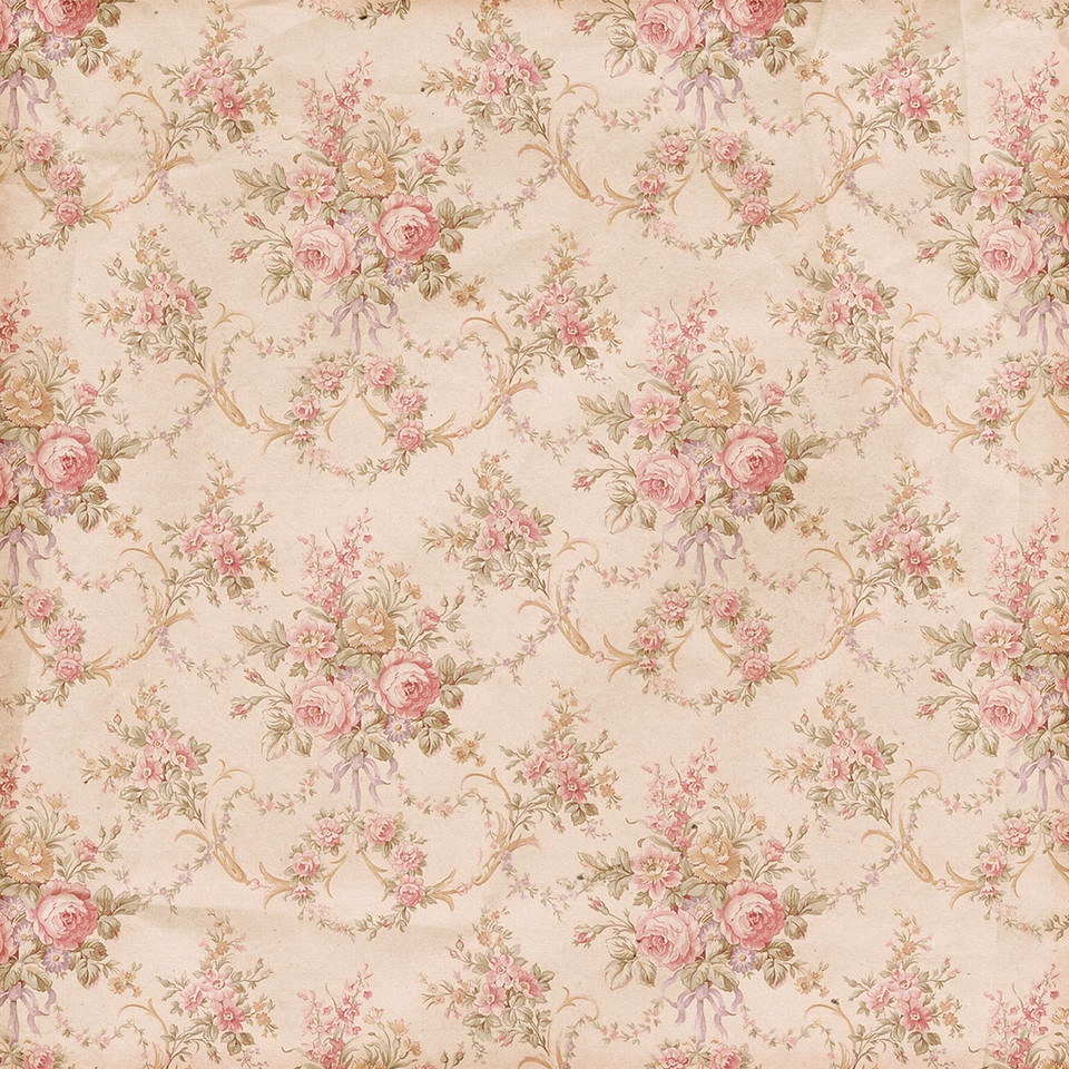 Retro floral digital paper with peonies | Wrapping Digital Paper