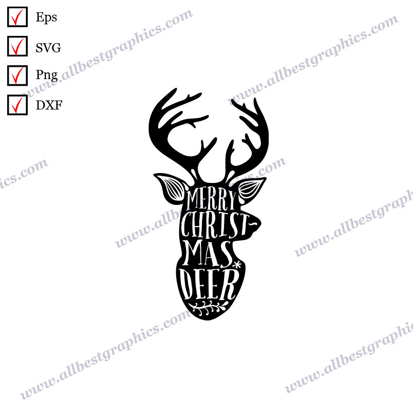 Merry Christmas Deer   Best Cool Quotes Vector Clip Art Christmas Template