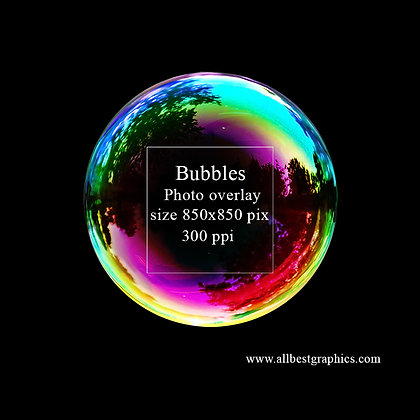 Simple Soap bubble on black background (red sky)