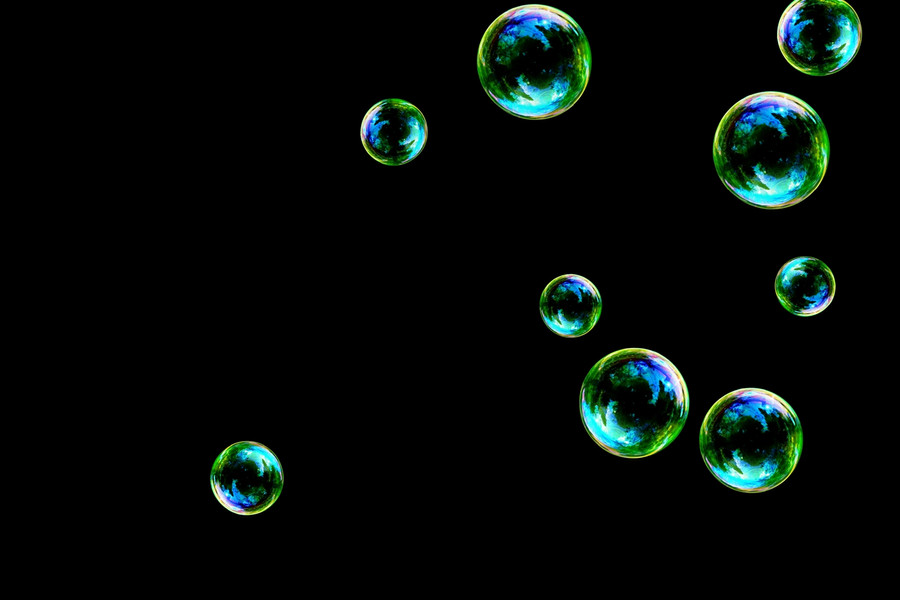Dreamy rainbow soap bubbles on black background   Photo Overlay