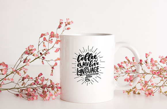 Coffee is my love language   Coffee mug Funny Quotes Eps Svg Dxf Png