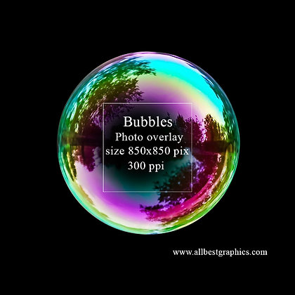 Simple Soap bubble on black background (blue sky)