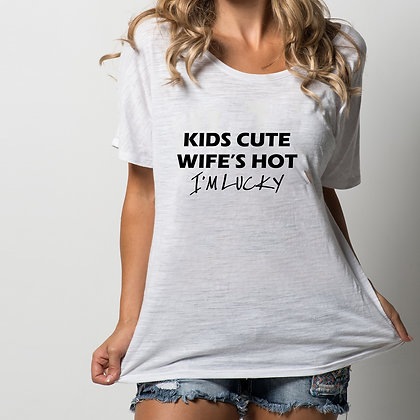 Kids cute wife's hot | Iron on Transfer Funny T-shirt Quotes for Silhouette