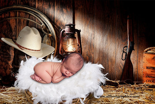 Cowboy | Newborn digital backdrop | Photo props | Photoshop background
