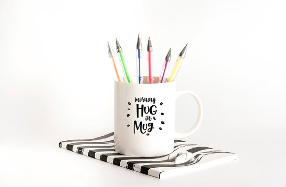 Morning hug in a mug| Hand-lettered funny quotes about coffee