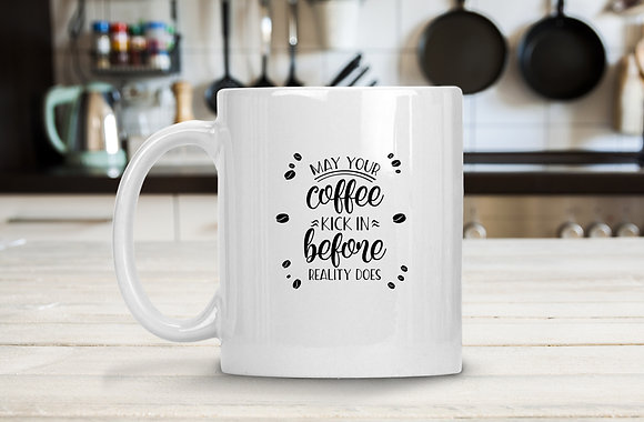 May your coffee kick in| Hand-lettered funny quotes about coffee