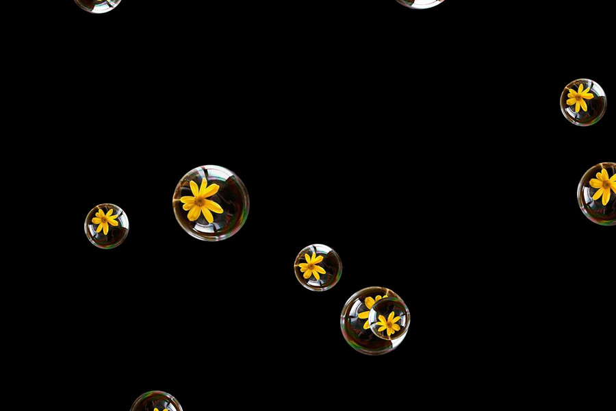 Beautiful air soap bubbles on black background | Photo Overlay