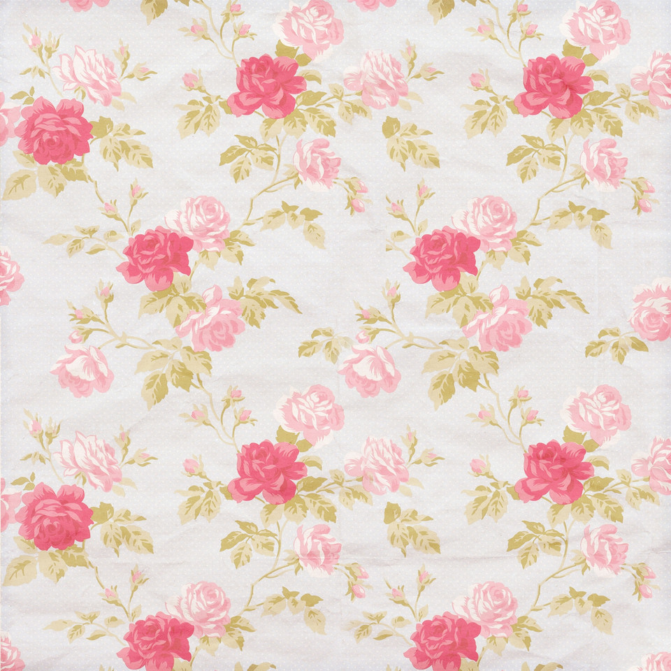 Shabby Chic peony digital paper with seamless design | Craft Supplies & Papers