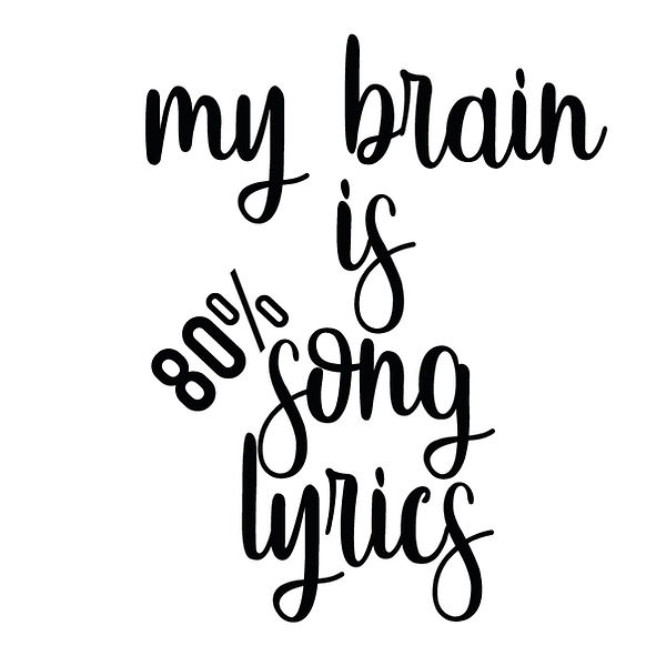 My brain is 80% song lyrics_2 | Free Printable Sarcastic Quotes T- Shirt Design in Png