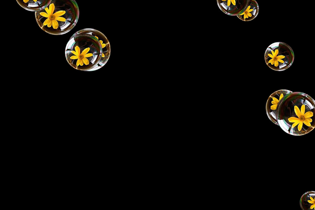 Superb air soap bubbles on black background | Photoshop Overlay