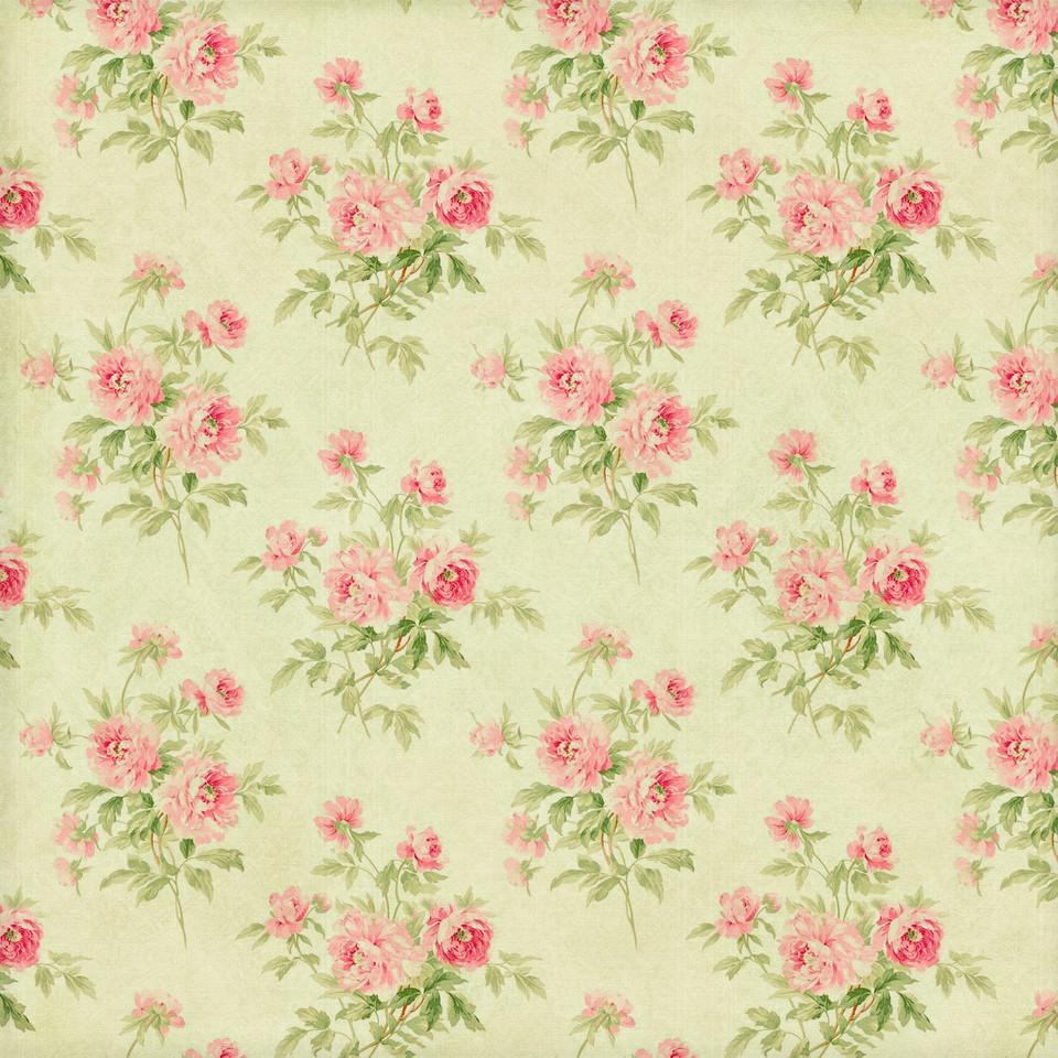 Spring floral digital paper with pink flowers | Scrapbook Paper
