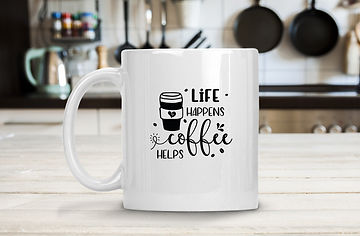 Life happens coffee helps | Coffee mug Funny Quotes Svg Eps Dxf Png