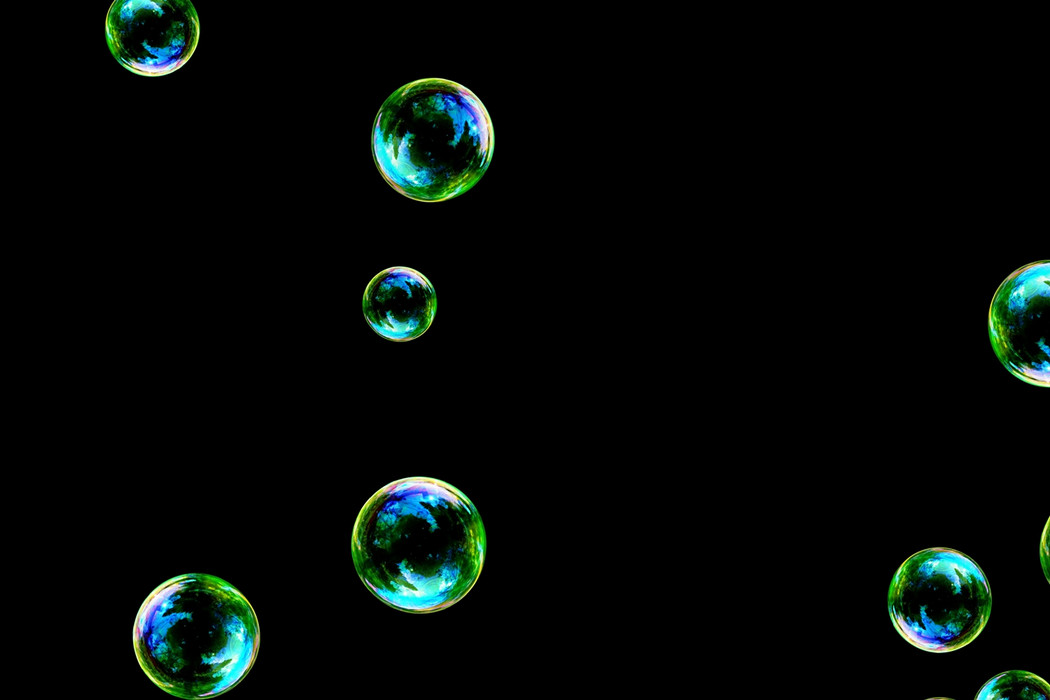 Superb bathroom soap bubbles on black background | Overlay for Photoshop