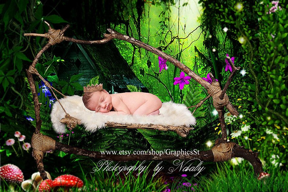 Hammock Newborn digital backdrop | Fantasy forest Photoshop background