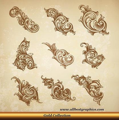 Acanthus leaves vector set | Victorian Decorative elements_0326.002