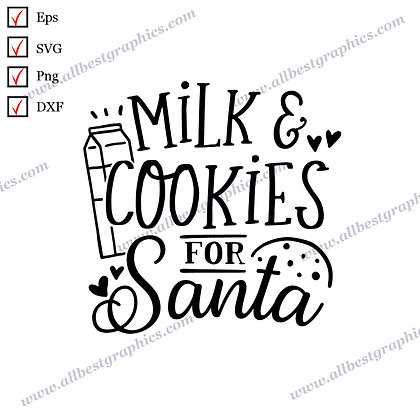 Milk and Cookies for Santa | Funny Quotes Instant Download Christmas Design Png