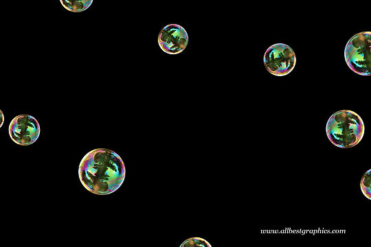Dreamy colorful soap bubbles on black background | Bubble Photoshop overlays
