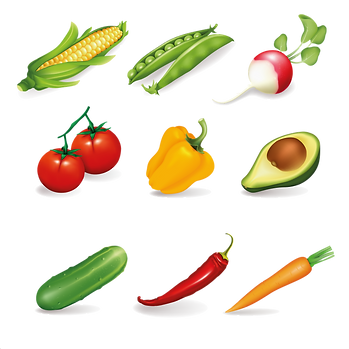Different organic and healthy fruits & vegetables digital set  - Food clipart free download 2400x2400 png