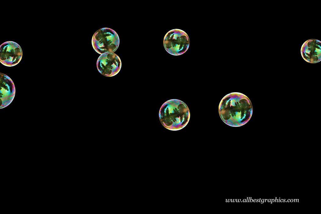 Wondrous rainbow soap bubbles on black background | Bubble Overlays for Photoshop