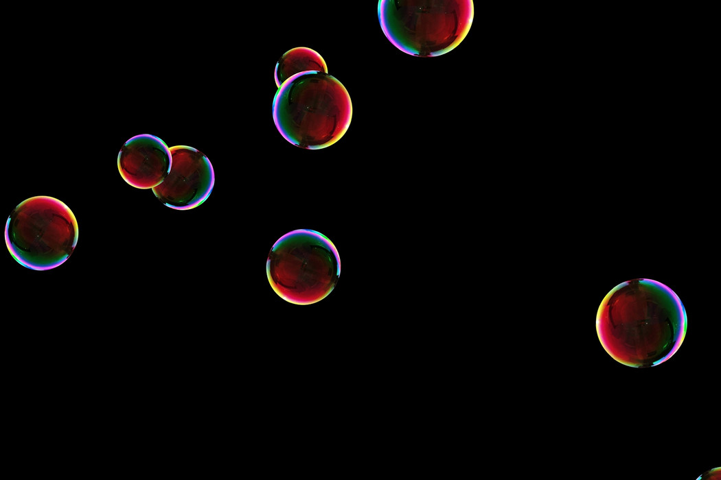 Glorious realistic soap bubbles on black background | Overlay for Photoshop