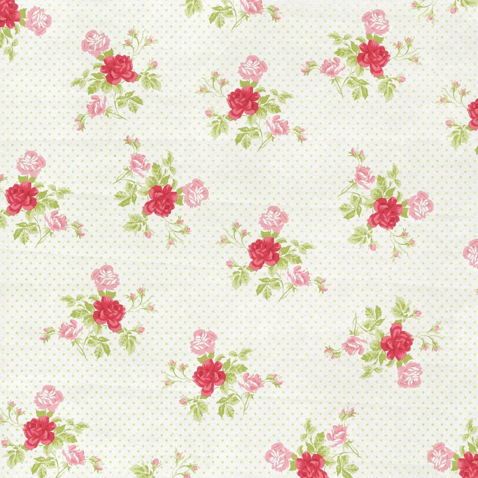 Watercolor floral digital paper with roses | Scrapbook Digital Paper