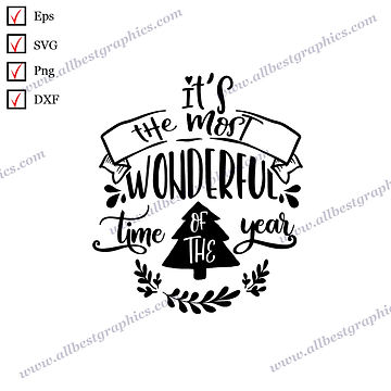 It's the Most Wonderful Time   Best Cool Quotes Merry Christmas Design Eps Dxf