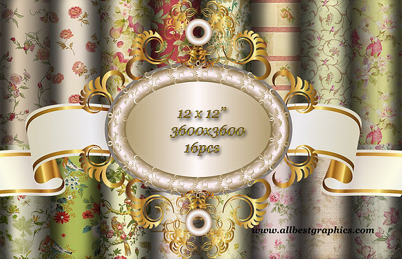 Royal Shabby Chic Floral Textured Digital Paper with Flowers