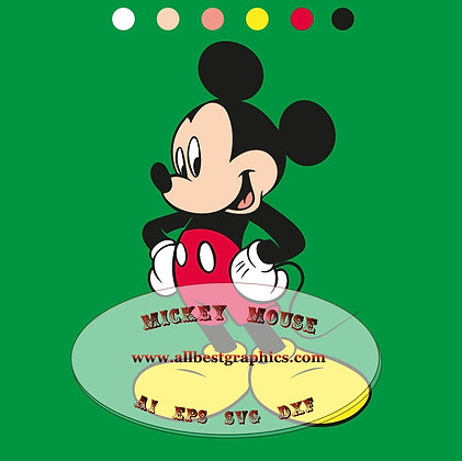 Mickey Mouse Eps Svg Dxf for Silhouette Cameo & Cricut | Mickey clip art