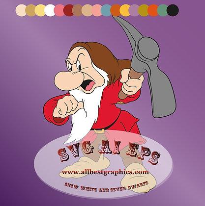 I'm Grumpy Dwarf - Seven Dwarfs clipart Eps Svg Dxf | Disney clipart vol.3