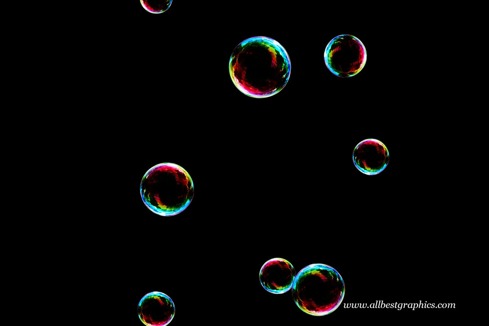 Superb rainbow soap bubbles on black background | Bubble Photo Overlay