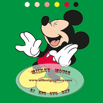 Mickey Mouse clip art Svg Dxf Png Ai Eps | Disney cartoons cut files Silhouette