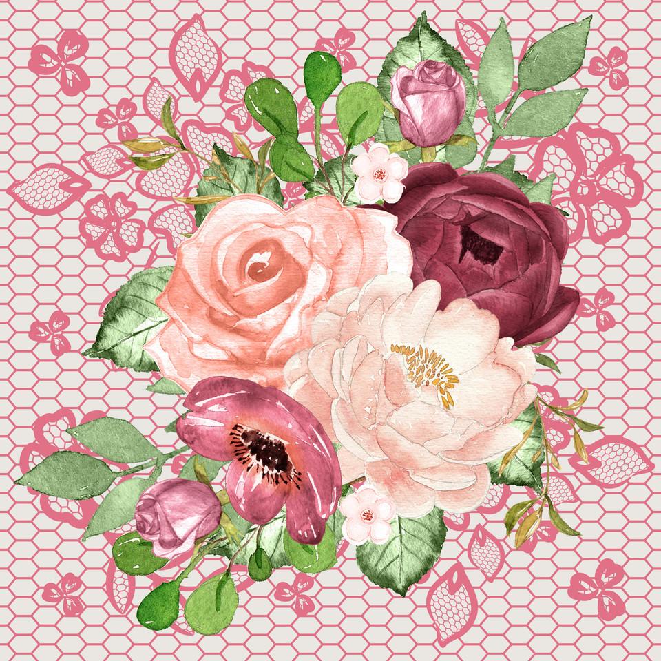 Luxurious watercolor digital paper with peonies | Invitation Digital Paper