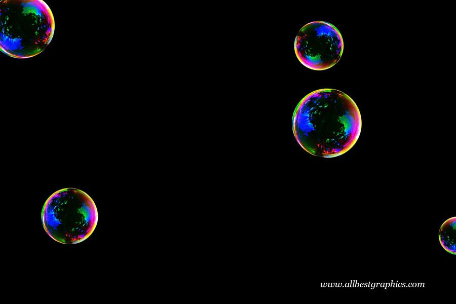 Fantastic realistic soap bubbles on black background   Bubble Photoshop Overlay