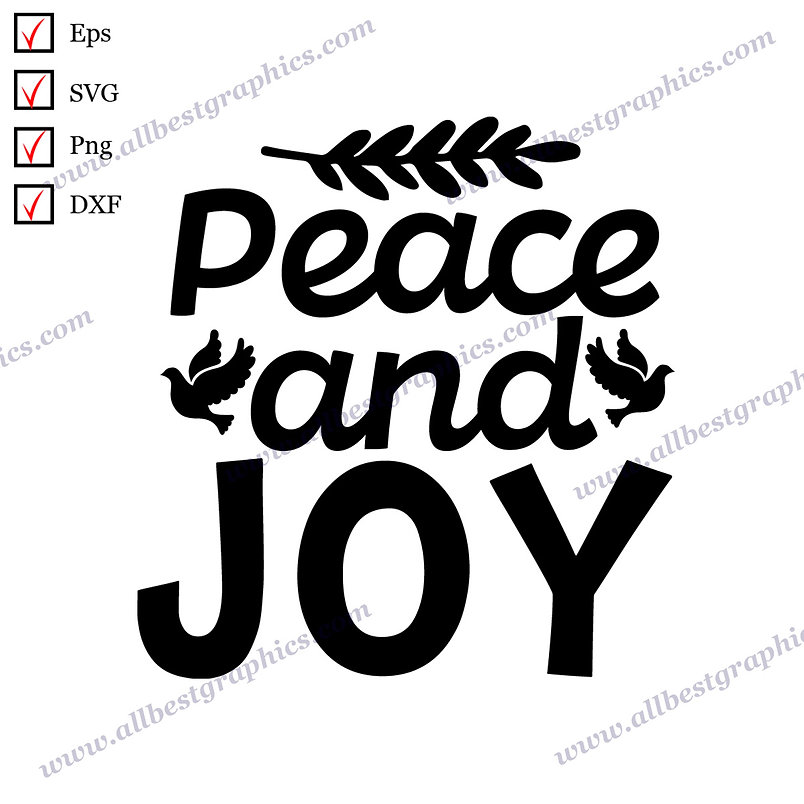 Peace and Joy | Cool Quotes Ready-to-Use Christmas Decor Dxf Eps SVG Png