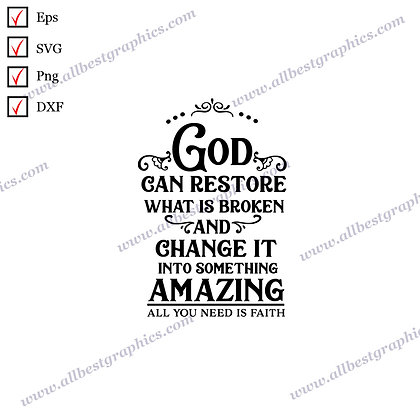 God Can Restore | Cool Quotes Christmas Décor SVG Png Eps Dxf