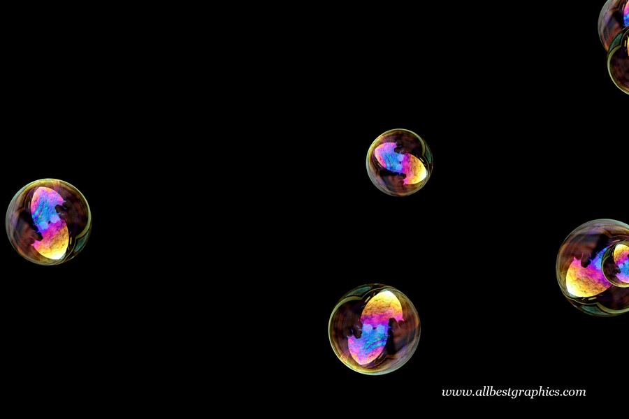 Beautiful blowing soap bubbles on black background    Bubble Photoshop Overlay