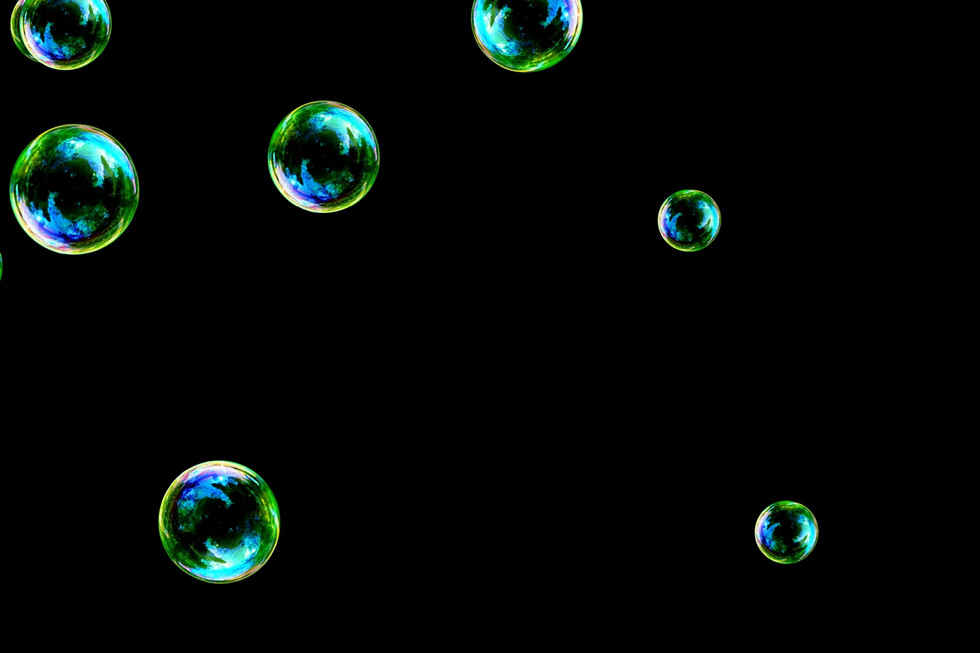 Wonderful rainbow soap bubbles on black background | Overlays for Photoshop