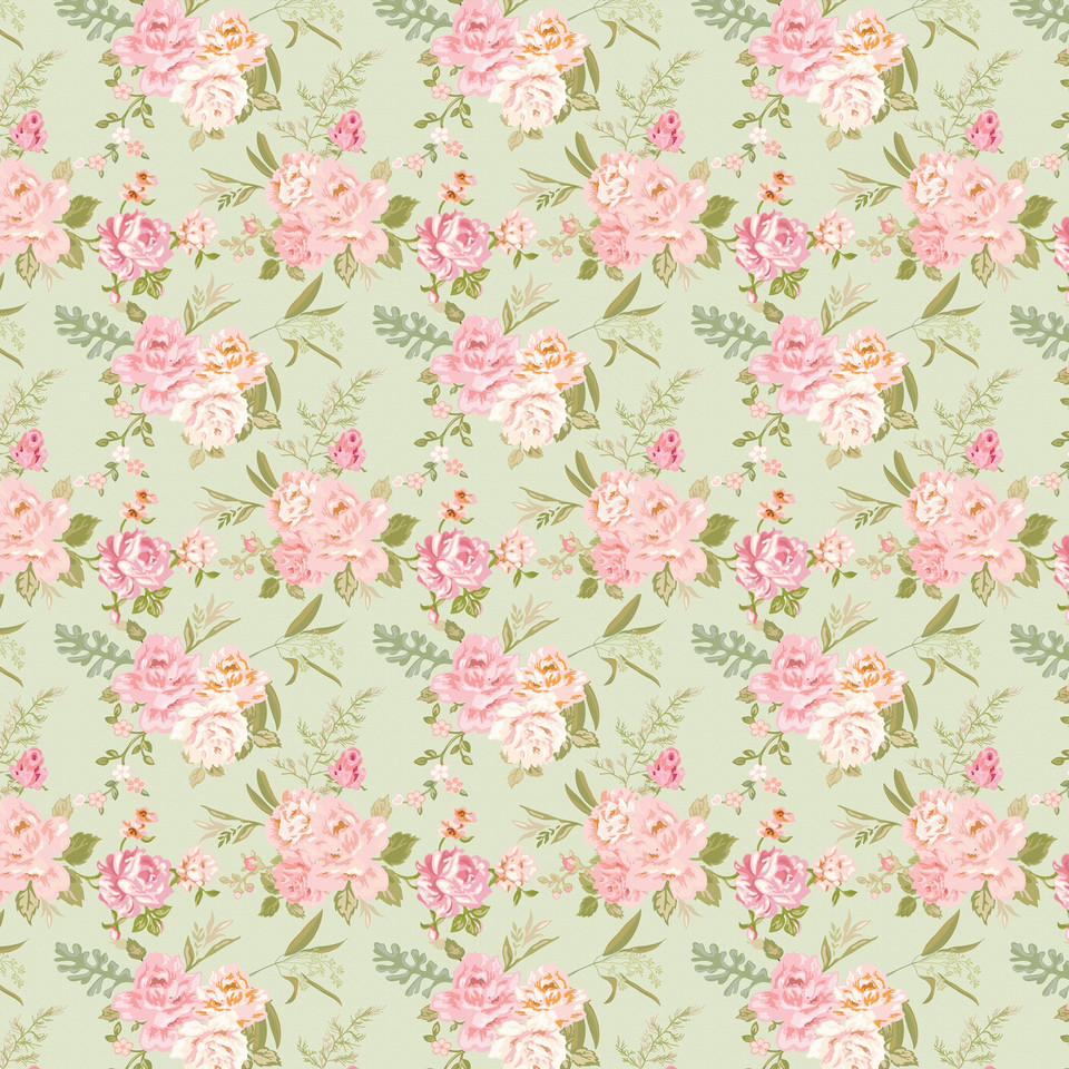 Vintage floral digital paper with roses | Handmade Digital Paper